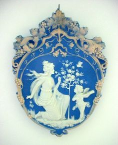 Tricolor German Jasperware Jasper Ware Plaque Woman with Serenading Cupid or Angel.