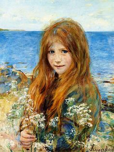 worldpaintings:    Hans Olaf Heyerdahl (Swedish, 1857-1913)  Little Girl on the Beach, oil on canvas. 60 x 45 cm, private collection.