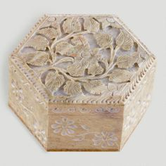 """Hexagon Carved Soapstone Box.  Handcrafted of natural soapstone with hinged lid Due to natural soapstone, slight variations in color may occur Available in multiple shapes, sold separately Made in India Product Specifications 5""""Dia. $14.99"""