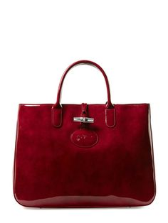 Roseau Box Patent Leather Large Tote from Longchamp Handbags on Gilt