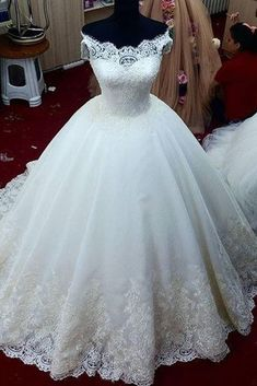 White organza lace applique off-shoulder A-line ball gown wedding dresses by prom dresses, $213.00 USD