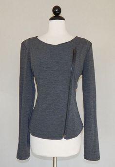 YUMMIE TUMMIE HEATHER THOMSON Charcoal Gray Zip Front Moto Knit Jacket  Size L #YummiebyHeatherThomson #BasicJacket