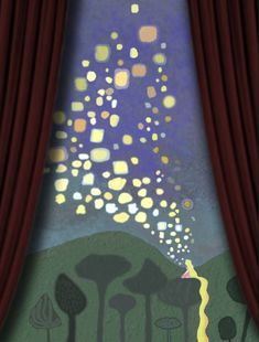 Rapunzel room- totally painting this in lexis room paint at head of bed Tangled Room, Rapunzel Room, Tangled Rapunzel, Deco Disney, Disney Art, Disney Mural, Floating Lights, Tangled Painting, Ink Drawings