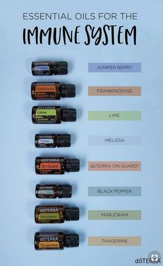 Here's my top essential oils for immune support when you aren't feeling your best! Try doTERRA Juniper Berry, Black Pepper, Marjoram, Tangerine, Frankincense, Lime, Melissa, or OnGuard to help support your immune system against environmental threats.www.thepricklypilotswife.com#doterra #essentialoils #immune
