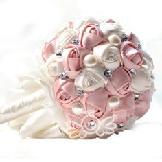 Rinzony Satin Rose Bridal Bouquets Pearls and Rhinestones Wedding Bouquets Flowers (Pink ) >>> Be sure to check out this awesome product.