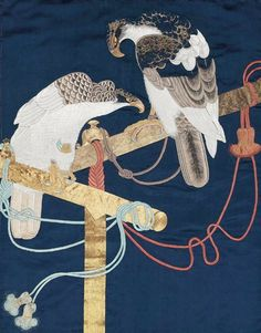 Fukusa embroidery | Main detail of a silk fukusa (gift cloth), late 19th ... | Fukusa