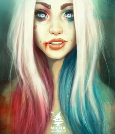 Red and blue Harley Quinn
