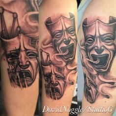 Comedy and tragedy tattoo. Masks. Theatre.