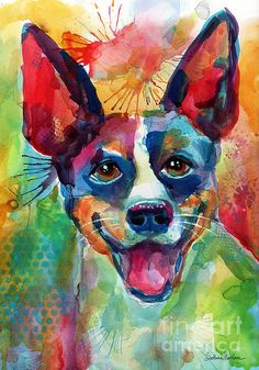 Colorful Rat Terrier dog portrait painting by Svetlana Novikova (all rights reserved).  It will make a great art gift for any dog lover, it comes as prints on gallery wrapped canvas, metal, acrylic, totes, shower curtains, pillow cases, phone cases, and more.  I am also available for custom pet portrait commissions from your favorite photos.  Please contact me with inquiries.