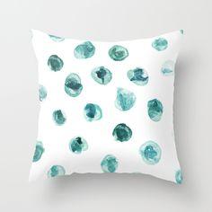 Green blue minimalistic printed watercolor dot pillow