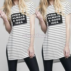 European T shirt Summer Women Tops PARIS IS ALWAYS A GOOD IDEA Stripe Letter Print Tees Shirt Women Designer Clothing Summer Top #Discount #Popular