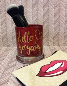 Makeup brush holder/brush holder/glitter jars/hello gorgeous/pencil holder Makeup Brush Holders, Makeup Brush Set, Glitter Jars, Hello Gorgeous, Eye Make Up, Etsy Handmade, Skin Care Tips, Etsy Seller, Pencil Holder