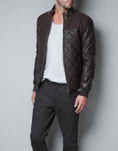COMBINED FAUX LEATHER JACKET - Jackets - Man - ZARA United States