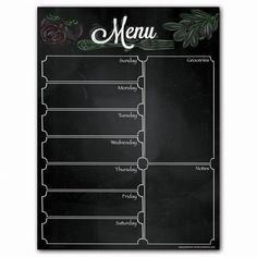 Magnetic Menu Dry Erase Weekly Meal Planner Refrigerator Whiteboard With Grocery List And Notes Decoration Restaurant, Restaurant Menu Design, Food Graphic Design, Food Menu Design, Cafe Menu, Nick's Cafe, Food Menu Template, Liquid Chalk Markers, Weekly Meal Planner