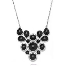 "Rita Necklace   Item # N-012013  17-20"" necklace   Add a polished, finishing touch to any outfit with this trendy, bib necklace featuring faceted black stones set in rhodium metal.  $30.00"