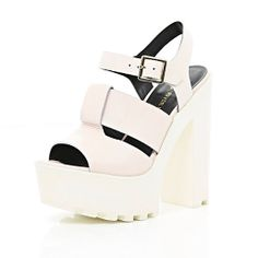 aea79ee50f86a8 Light pink cleated sole platform sandals - heels - shoes   boots - women River  Island