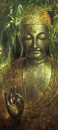 """""""In the end, the treasure of life is missed by those who hold on and gained by those who let go. Art: Buddha in Green by Wei Ying-wu na. Lotus Buddha, Art Buddha, Buddha Zen, Buddha Painting, Buddha Buddhism, Buddhist Art, Buddha Quote, Image Yoga, The Magic Faraway Tree"""