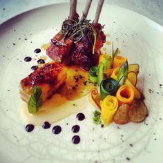 lamb, sweet potato apple terrine with sobrasada, pumpkin, eggplant zucchini, carotts, peach, port reduction... - The ChefsTalk Project