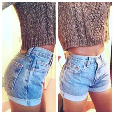 SALE Original Blue High Waisted Shorts levis wrangler by modayarte, $22.75
