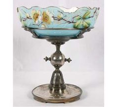Victorian Brides Bowl -  Blue Hand Painted Glass With Silverplate Base By Meridan