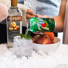 Spring is finally here, which means sun, fun and most of the country celebrating shoveled sidewalks with Peachy Passion Mojitos.   Just mix 1.5 oz Smirnoff Peach and 3oz 7UP!