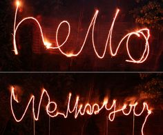 Writing with sparklers