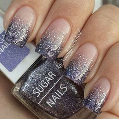 Gradient nail art and silver glitter nail art designed in French tips. Stand out of the crowd with beautiful glitter nail art inspired designs Silver Glitter Nails, Glitter Nail Art, Glitter Tattoos, Glitter Uggs, Pink Glitter, Silver Nail Art, Glitter Letters, Glitter Glue, Glitter Heels
