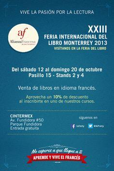 VIVE LA PASIÓN POR LEER en la Alianza Francesa Monterrey  hasta el 20 de octubre