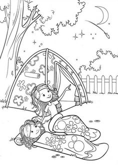 Groovy Girls Camping at Backyard Coloring Pages