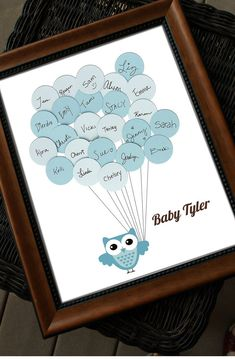 Unique Baby Shower Guest Book Print Owl with by SayAnythingDesign