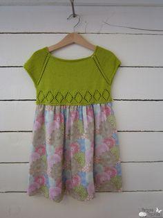 mariposa tricotosa: Vestido con cuerpo de punto con natura just cotton