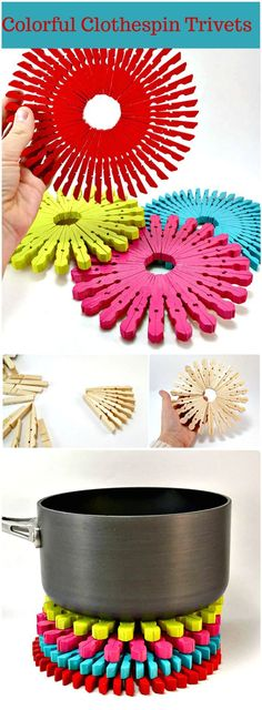 Colorful Clothespin Trivets - 240 Easy Craft Ideas to Make and Sell - Page 4 of 24 - DIY & Crafts