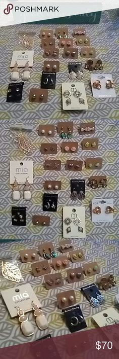 🔴MAKE OFFER🔴Large Earring Bundle!! 20+ PAIRS OF EARRINGS!! Most new & never worn. All earrings are hypoallergenic. Also included in a GOOD LUCK ELEPHANT NECKLACET.The earrings range from gold plated leaf earrings to sterling silver and stainless steal. All brands from LC Lauren Conrad, Urban Outfitters, Philadelphia Botiques, Macy's Kohls.  Will NOT separate.  Need to make room for new inventory and I need to make Christmas money to give my son the best holiday ever!!  YOU CAN RESELL THESE…