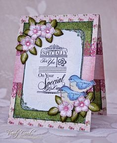 Card made using Birds and Blooms from Heartfelt Creations. Made by Liz Walker