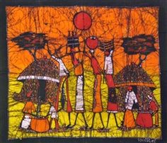 This handmade, unframed, colorful batik from Mozambique is a great piece of wall art.
