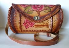 Vintage Boho-Chic Tooled Leather Color Rubbed Handbag by TheVintageHandbag