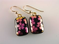 Dichroic Earrings Fused Glass Jewelry Pink by AngelasArtGlass