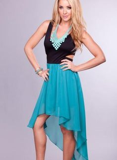 Black and Teal High Low Dress with Cutout Open Back,  Dress, high-low dress  cutout, Chic