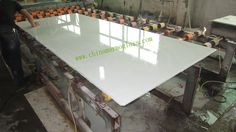 Crystallized Stone is also called pure white marble,Pure white artifical stone, Marmoglass,White crystal stone,crystal white glass and crystal glasses.It is widely used in exterior and interior walls, Crystallized Stone floors,Crystallized Stone countertops, Crystallized Stone vanities, Crystallized Stone columns Mitered ege in 45 degrees is necessary for countertop & vantiytop to avoid pore holes.