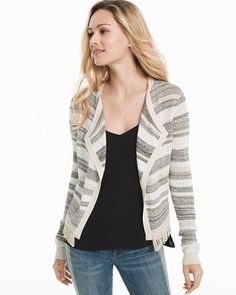 Striped Mix Stitch Sweater Jacket - White House Black Market