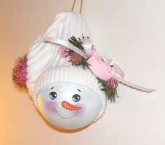 Christmas Ornament Snowman Snowlady in Pink Hand Painted Personalized free. $10.25, via Etsy.