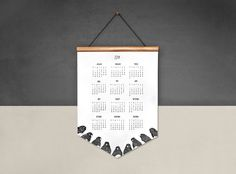 2014 Wall Calendar - Robins - Eco-Friendly Calendar on Wooden Hanger