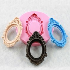 Cameo Setting Frame Silicone Mold Resin Polymer Clay Jewelry Cabochon (303). $7.00, via Etsy.
