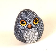 Hand painted little rock, owl. Reserved