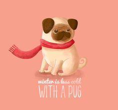 winter is less cold with a pug by Armando García Mendoza, via Behance