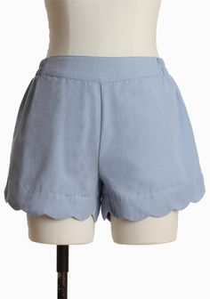 """Blue Sky Eco-friendly Shorts By Covet 54.99 at shopruche.com. A scalloped hem lends feminine charm to these light blue shorts designed by Covet. Crafted in cotton, the silhouette is finished with an elasticized waist and side pockets for a casually chic look.100% Cotton, Imported, 12"""" length from top of waist"""