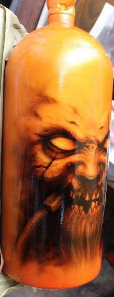 NX Nitro Nitrous bottle tank custom freehanded airbrush paint job Iwata hp-ch