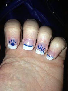university of kentucky nail art Uk Nails, Love Nails, Hair And Nails, University Of Kentucky, Kentucky Wildcats, Cat Nail Art, Different Nail Designs, Go Big Blue, Tough As Nails