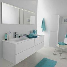Meuble de salle de bains Cosmo, blanc calcaire n°3 | Leroy Merlin