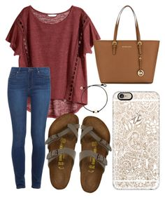 """""""Go out and make it a great day!!!"""" by jadenriley21 ❤ liked on Polyvore featuring H&M, Paige Denim, Birkenstock, MICHAEL Michael Kors and Casetify"""